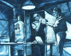 Film Noir Influence Series, Pen & Marker on Cardbord, 35 x 50 cm, 2011